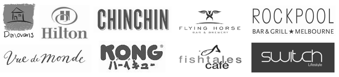 Client logos: Chin Chin, Donovans Restaurant, Hilton, Switch Lifestyle, Kong, Vue De Monde, Rockpool Bar & Grill, Fishtales Cafe, Flying Horse Bar & Brewery