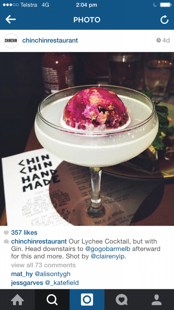 Chin Chin cocktail special instagram for restaurants