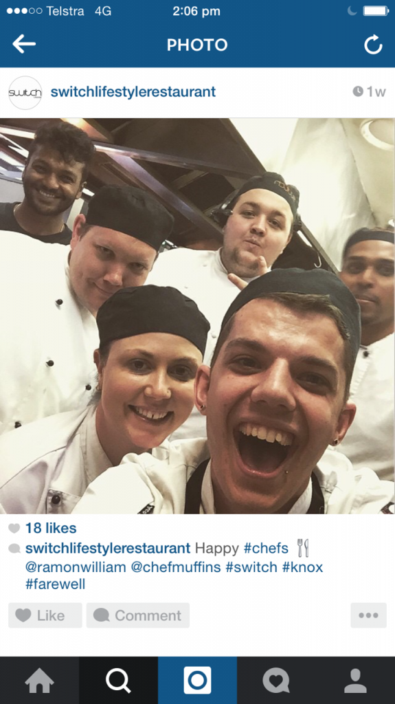 Switch Lifestyle behind the scenes instagram for restaurants
