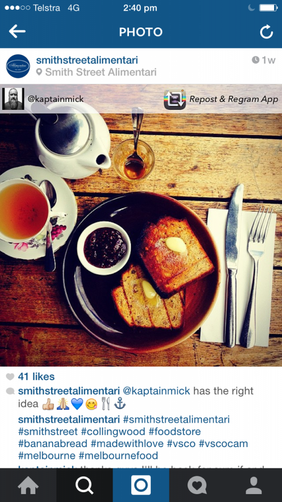 Smith Street Alimentari repost regram instagram for restaurants