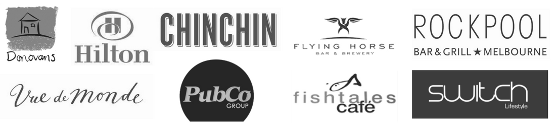 client logos donovans restaurant, hilton hotels, vue de monde, pubco group, chin chin, lucas group, flying horse, fishtales cafe, switch lifestyle venues, rockpool group